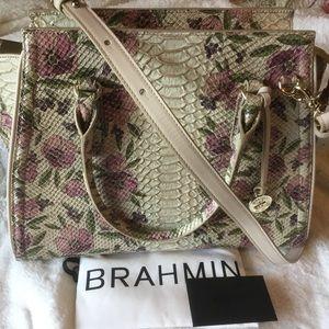 Brahmin Priscilla Satchel  Ivory Labyrinth Leather